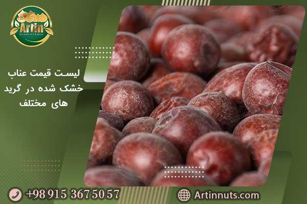 لیست قیمت عناب خشک شده در گرید های مختلف